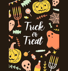 festive vertical halloween card or postcard vector image