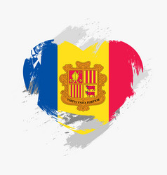 flag of andorra isolated on grunge heart vector image