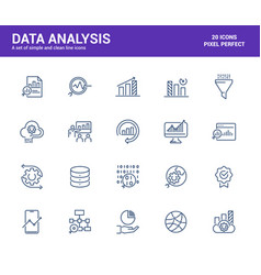 flat line icons design-data analysis vector image