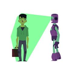 flat robots people interaction scenes set vector image