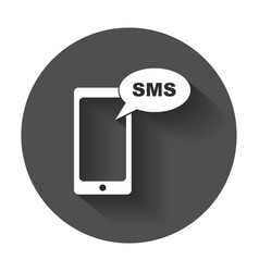 Flat smartphone icon sms message phone with long vector