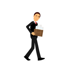 Frustrated businessman character leaving his work vector