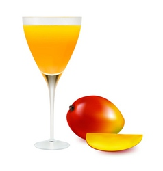 glass with mango juice vector image
