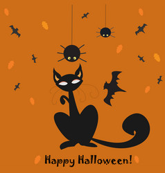 halloween holiday card with cat and hanging vector image