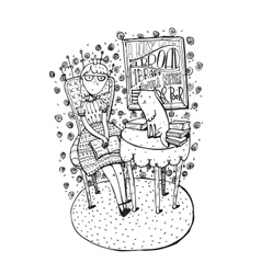 Hand drawn girl sitting with open book and cat on vector
