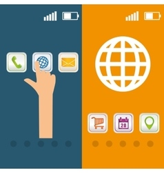 Hand mobile apps design vector