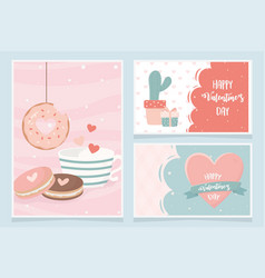 happy valentines day cactus gift cookies donut vector image