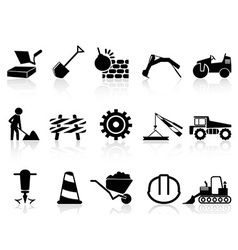 Heavy construction icons set vector