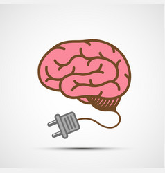 human brain with an electric plug vector image