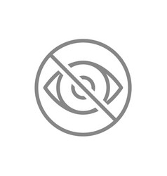 human eye with prohibition sign line icon vector image