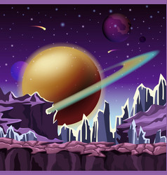 ice rocks on cartoon planet scenery vector image