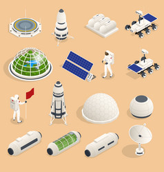 Isometric set icons space equipment and vector