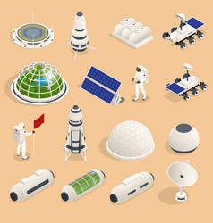 Isometric set icons space equipment vector