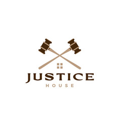 Justice hammer law house home lawyer logo icon vector