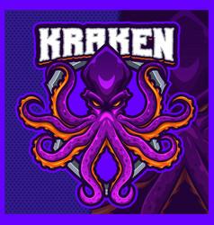 Kraken monster mascot esport logo design template vector