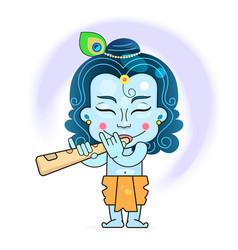 Krishna on background happy holiday vector