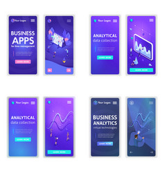 landing page isometric concept business analysis vector image