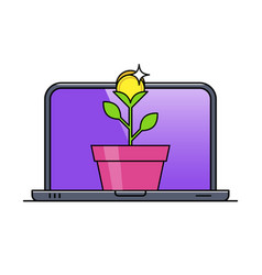 laptop with money plant in pot vector image