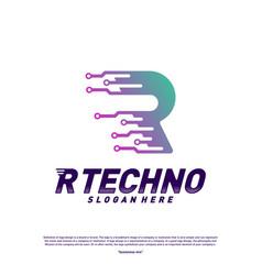 letter r digital logo design concept initial r vector image