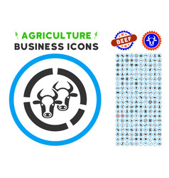 Livestock diagram rounded icon with set vector