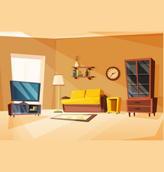 living room interior with vector image