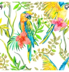 Macaw seamless pattern Topical flower and leaves vector image