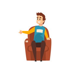 Man sitting in the armchair male seller or buyer vector