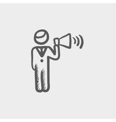 Man with megaphone sketch icon vector image
