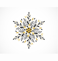 Merry christmas snowflake greeting card banner vector