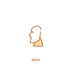 Moai concept 2 colored icon simple line element vector