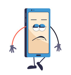 mobile phone or smartphone cartoon character with vector image