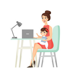 Mom home working freelance business flat cartoon vector
