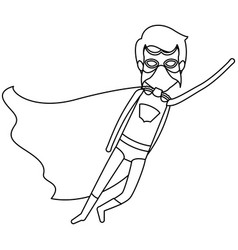Monochrome contour faceless of superhero male vector