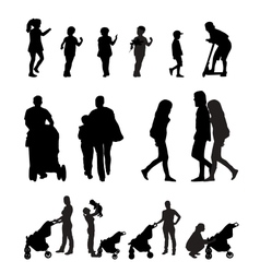 Mother with Pram and Children Silhouette vector