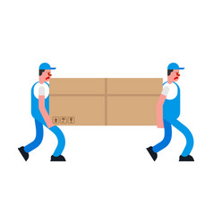 Movers and large box porters carry box delivery vector