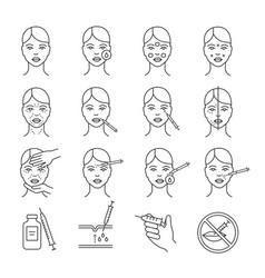 Neurotoxin injection procedure linear icons set vector
