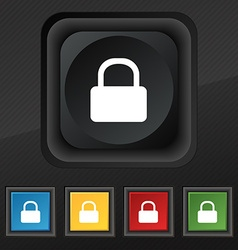 Pad Lock icon symbol Set of five colorful stylish vector