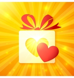 Paper gift box with cutout red heart vector