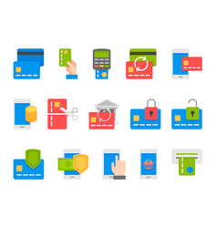 pay on line and mobile banking icons flat design vector image