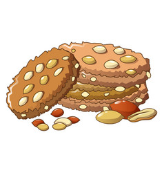 Peanut cookie icon cartoon style vector