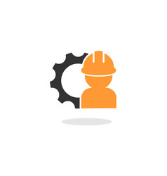 People contractor symbol with gear vector