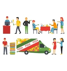 People in a Pizzeria interior flat icons set vector image