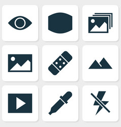Photo icons set with plaster monitor lightning vector