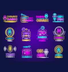 radio neon broadcasting glow effect colored logo vector image