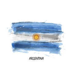 realistic watercolor painting flag argentina vector image