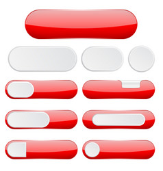red interface buttons web icons vector image
