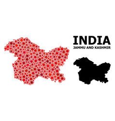 Red star mosaic map jammu and kashmir state vector