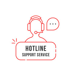 red thin line hotline support service logo vector image