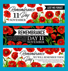 Remembrance day lest we forget banner with poppy vector