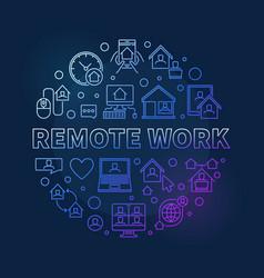 Remote work concept round colored line vector